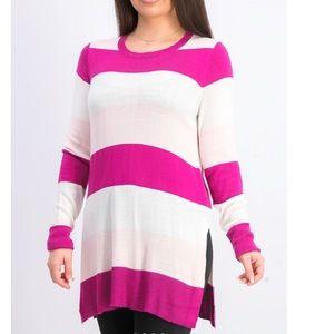 Maison Jules Striped Sweater Ripe Raspberry